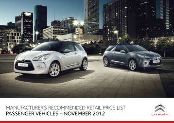 MANUFACTURER'S RECOMMENDED RETAIL PRICE LIST - Citroen