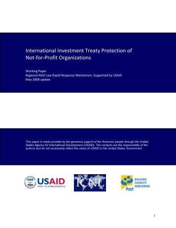 BIT protection of non-profit organizations - The International Center ...
