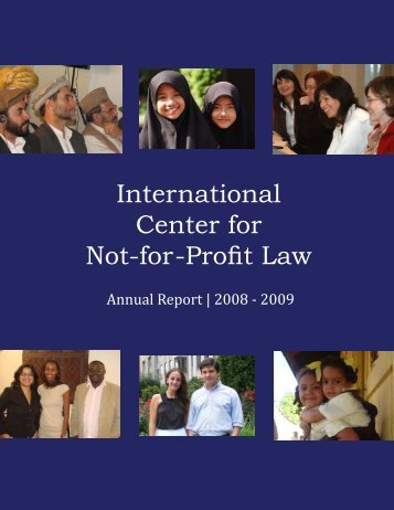 Annual Report 2008 - 2009 - The International Center for Not-for ...