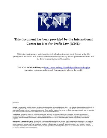 This document has been provided by the International Center for Not ...