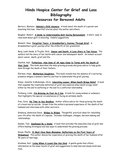 Hinds Hospice Center for Grief and Loss Bibliography