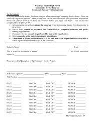 Community Service Verification Form - Cuyahoga Heights Schools