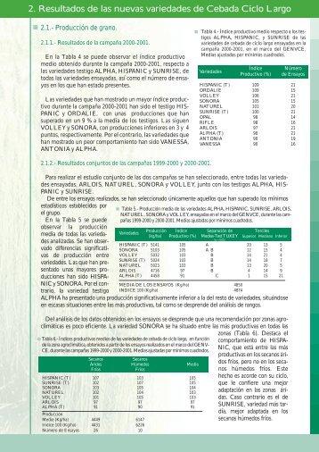 CEREAL DE INVIERNO. Cebada de ciclo largo - GENVCE