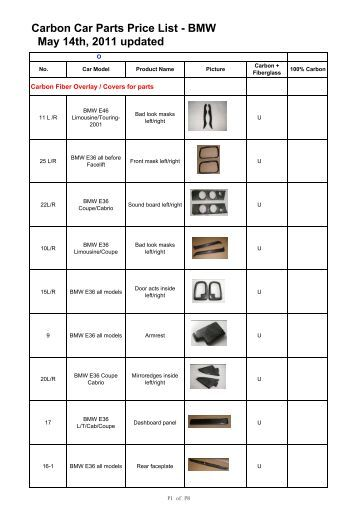 Carbon Car Parts Price List - BMW May 14th, 2011 updated - Lotus Talk