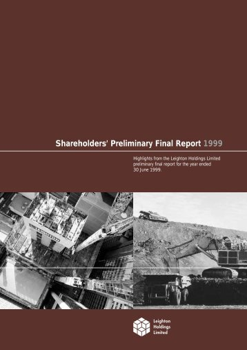 Shareholders' Preliminary Final Report 1999 - Leighton Holdings