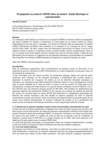 Propagation en contexte MIMO dans un tunnel ... - URSI-France