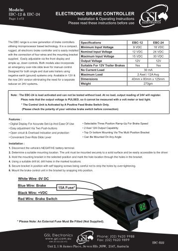 Installation Sheet - GSL Electronics