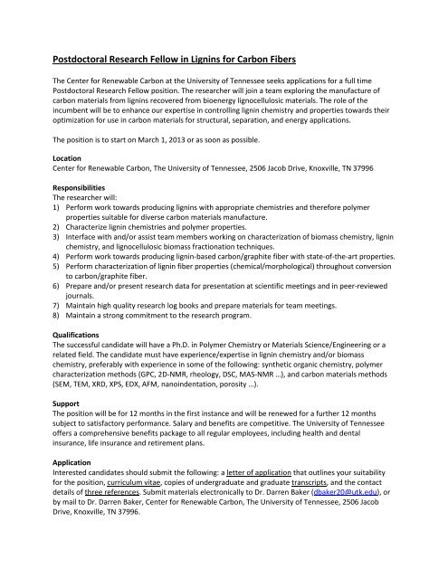Postdoctoral Research Fellow in Lignins for Carbon Fibers