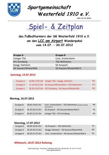 Turnierplan Sportwoche - SG Westerfeld