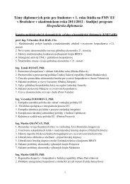 Témy diplomových prác pre študentov v 1. roku štúdia na FMV EU v ...