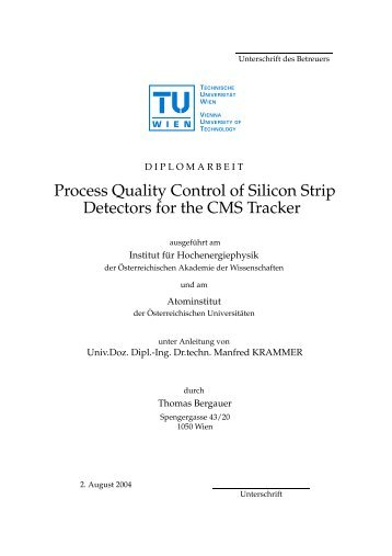 Process Quality Control of Silicon Strip Detectors for the ... - HEPHY