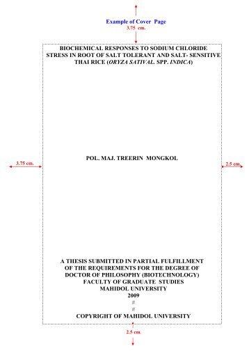 Thesis Proposal Template Mahidol  Thesisthematic Papers Thesis Proposal Template Mahidol