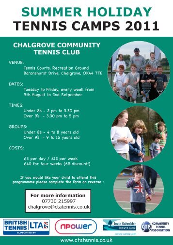 SUMMER HOLIDAY TENNIS CAMPS 2011 - Chalgrove-parish.org.uk