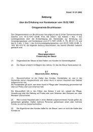 Satzung über die Erhebung von Hundesteuern