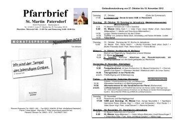 Pfarrbrief - Pfarrei Patersdorf