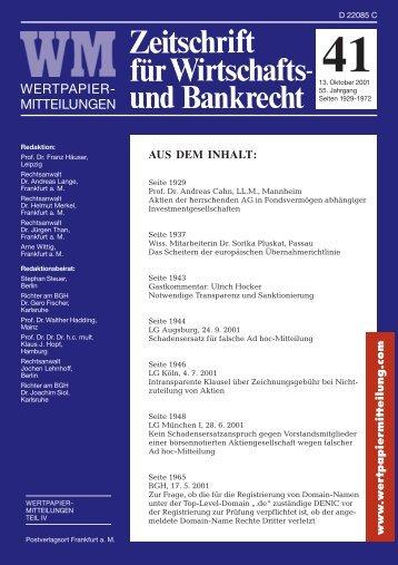 RECHT Titel 41.pmd - WM Wirtschafts- und Bankrecht