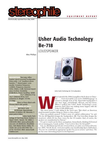 Be-718 Test Review From Stereophile - Usher Audio