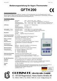 Bedienungsanleitung für GFTH200 - Greisinger