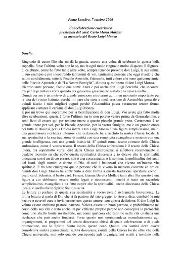 omelia del cardinale - Beato Luigi Monza