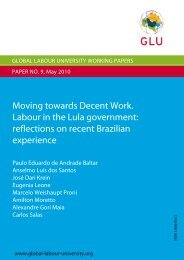 Moving towards Decent Work. Labour in the Lula government ...