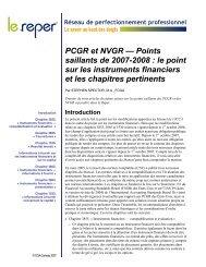 PCGR et NVGR, les instruments financiers - PD Net