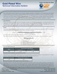 Gold Plated Wire Technical Bulletin - GTP