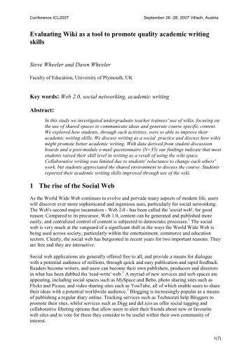 Evaluating Wiki as a tool to promote quality academic writing ... - ICL