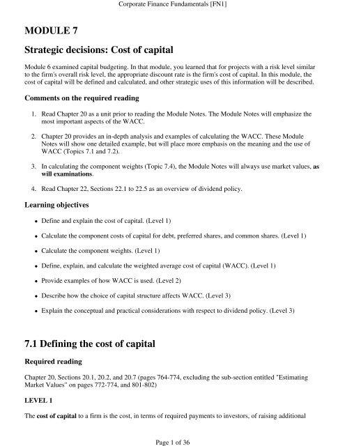 Corporate Finance Fundamentals (FN1): Module     - PD Net Tax Portal