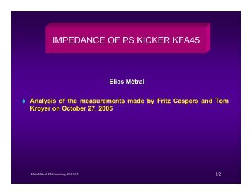 IMPEDANCE OF PS KICKER KFA45