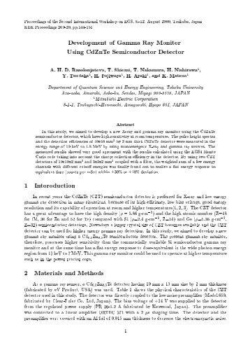 Development of Gamma Ray Monitor Using CdZnTe Semiconductor ...