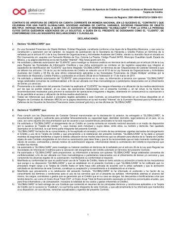 Contrato de Apertura de Crédito en Cuenta Corriente