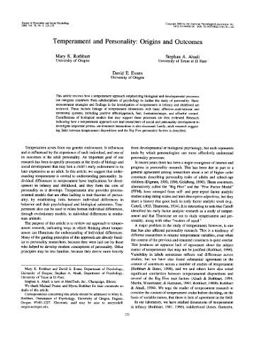 (2000) Temperament and Personality: Origins and Outcomes
