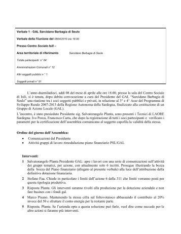 Verbale riunione n° 1 del 20-01-2009 - GAL Sarcidano Barbagia di ...