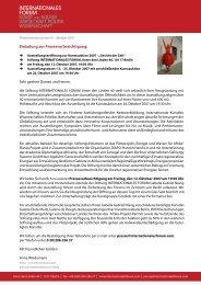 Einladung zur Pressevorbesichtigung: - INTERNATIONALES FORUM