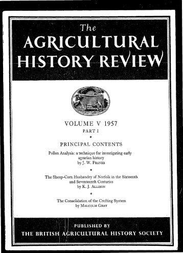 VOLUME V 1957 - British Agricultural History Society