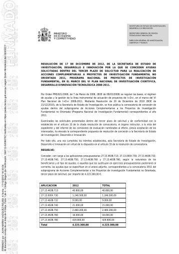 Resolución definitiva Ayudas Concedidas - Ministerio de Ciencia e ...
