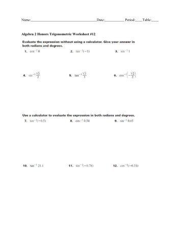1 | Honors P a g e Algebra 2 Honors Trigonometry Notes Day 1 ...