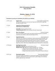 2011 Orientation Schedule Class of 2014 Monday, August, 15, 2011 ...