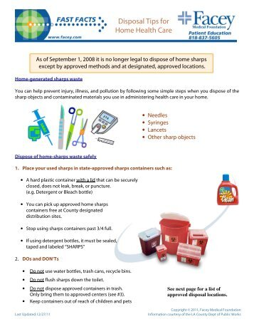 Disposal Tips for Home Health Care (Sharps) - Facey Medical Group