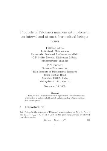 Products of Fibonacci numbers with indices in an interval and at ...