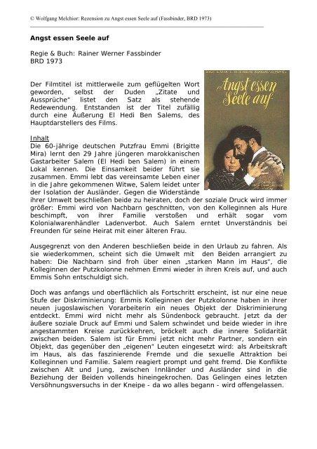 Angst Essen Seele Auf Regie Buch Rainer Werner Fassbinder