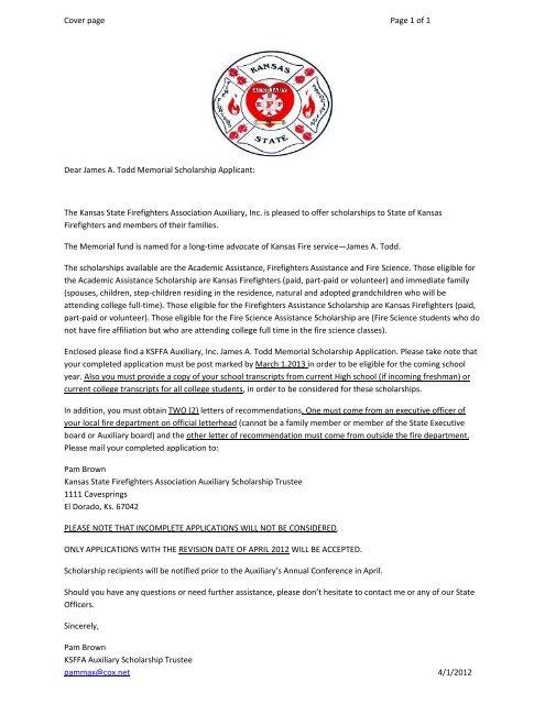 Application Form Kansas State Firefighters Association
