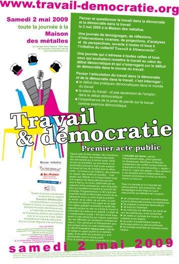 Travail & Démocratie - 2 mai 2009 - Maison des ... - Peuple et Culture