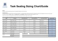 Sizing Chart & Chair Type Codes
