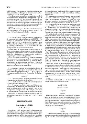 Decreto-Lei n.º 247/2009 - Ordem dos Enfermeiros