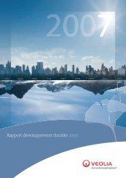 Rapport développement durable 2007 - Veolia Finance - Veolia ...