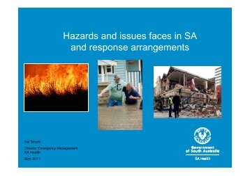 Hazards and issues faces in SA and response arrangements - Aged ...