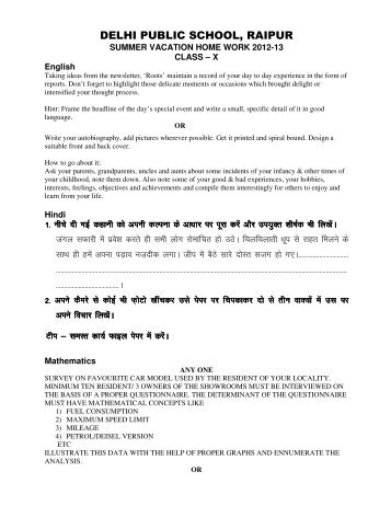 dps raipur holiday homework 2014