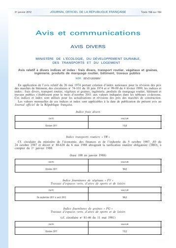 avis indices et index - NOR : DEVD1202890V - Marchés publics