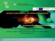 PREDSTAVITEV PROJEKTA PROFILES na konferenci učiteljev ...